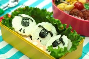 キャラ弁レシピ:ひつじのショーンの作り方 Shaun the Sheep bento(kyaraben) recipe
